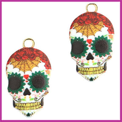 BQ metalen bedel skull red green goud