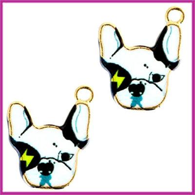 BQ metalen bedel hond white black goud