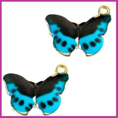 BQ metalen bedel vlinder black blue goud
