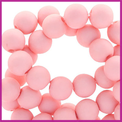 Acryl kraal mat rond 8mm Salmon Pink