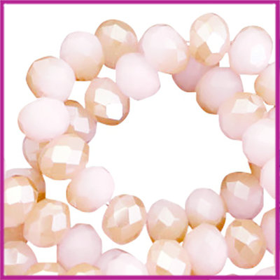 Glaskraal top facet disc 6x4mm Light rose-rosegold half pearl shine coating