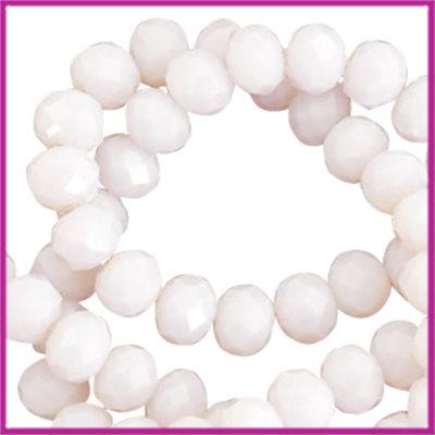 Glaskraal top facet disc 6x4mm Pink lavender opal-pearl high shine coating