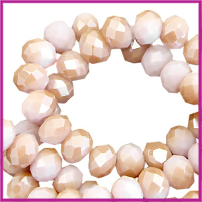 Glaskraal top facet disc 6x4mm Lavender fog-rosegold half pearl high shine coating