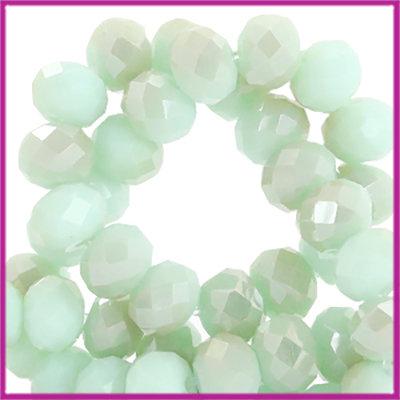 Glaskraal top facet disc 4x3mm Velvet mint green-half champagne half pearl shine coating