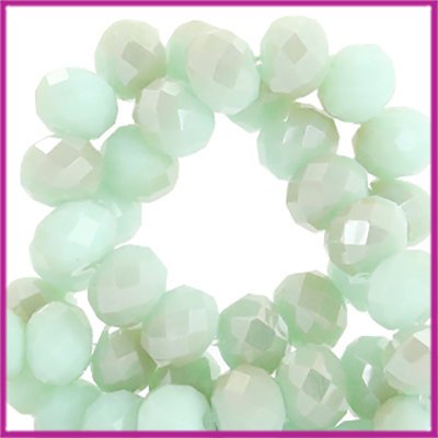 Glaskraal top facet disc 6x4mm Velvet mint green-half champagne half pearl shine coating