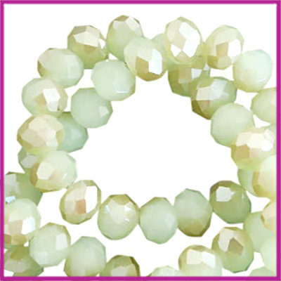 Glaskraal top facet disc 6x4mm Margarita green-half champagne pearl high shine coating