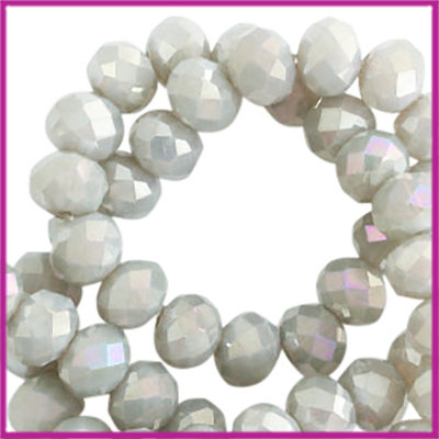 Glaskraal top facet disc 4x3mm Greige-diamond shine coating