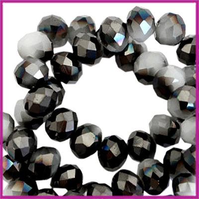 Glaskraal top facet disc 6x4mm Anthracite-light grey half pearl high shine coating