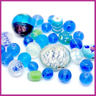 Glasmix Fancy aqua blauw