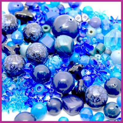 Mix kunststof en glaskralen donker blauw