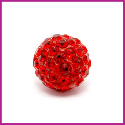 Strass kraal polymeerklei rond 10mm Siam rood