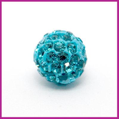 Strass kraal polymeerklei rond 10mm Aquamarine