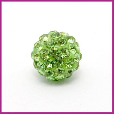 Strass kraal polymeerklei rond 10mm Peridot groen