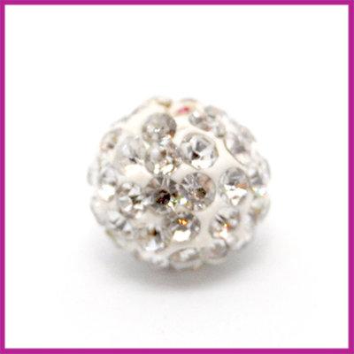 Strass kraal polymeerklei rond 10mm Wit crystal