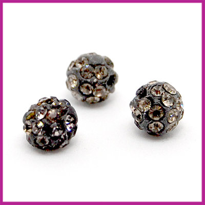 Strass kraal polymeerklei rond 6mm Black diamond