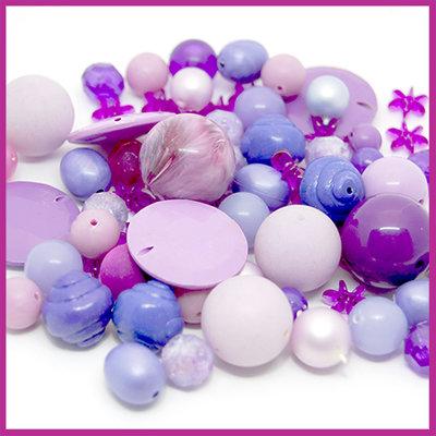 Mix kunststof en glaskralen paars