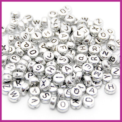 Metaallook letterkralen mix 7x4mm zilver