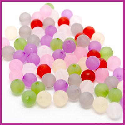 Kunststof kralenmix mat rond Ø8mm multicolor