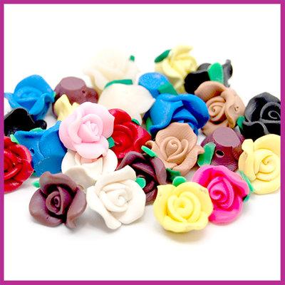Polymeerklei (Fimo) kraal roosje ca. 12x8mm multicolor