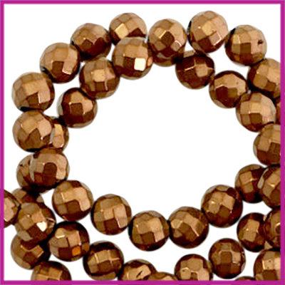 Hematiet kralen rond 6mm facet geslepen Brons rosegold