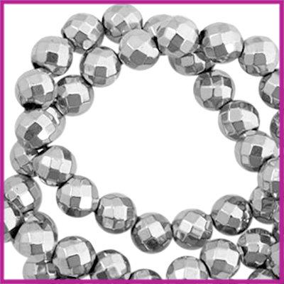 Hematiet kralen rond 6mm facet geslepen Light grey zilver