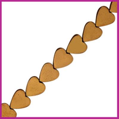 Hematiet kraal hartje 8mm Brons rosegold
