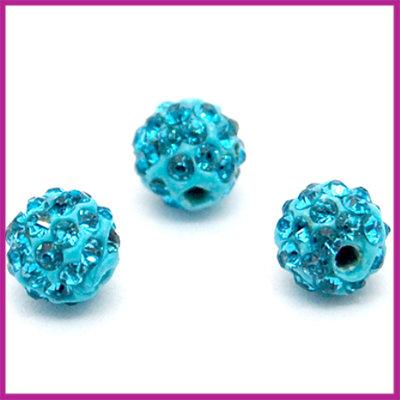 Strass kraal polymeerklei rond 6mm Aqua blauw