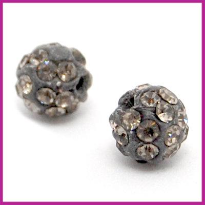 Strass kraal polymeerklei rond 8mm Black diamond