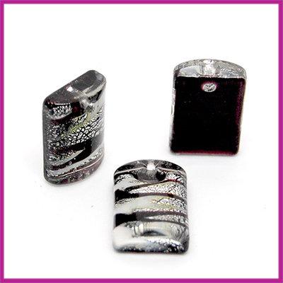 Glashanger plat rechthoek blokje zwart - wit - zilver
