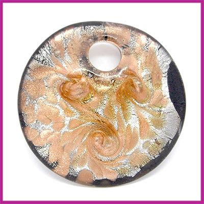 Glashanger cabochon plat rond zwart - zilver - goud