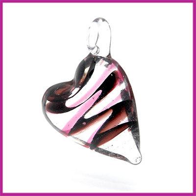Glashanger bol hart zwart - paars
