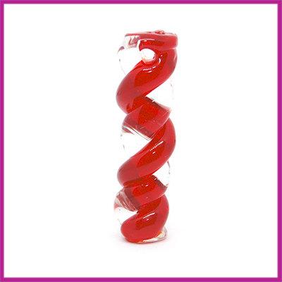 Glashanger langwerpige twist transparant - rood