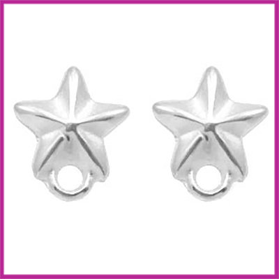 DQ metaal earpin / oorsteker zeester Antiek zilver