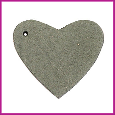 DQ leer hanger hart ca. 4x4,5cm Dark olive green