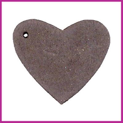 DQ leer hanger hart ca. 4x4,5cm Dark vintage brown