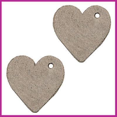 DQ leer hanger hartje ca. 25mm Vintage brown
