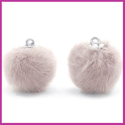Pompom bedel faux fur 16mm Taupe grey