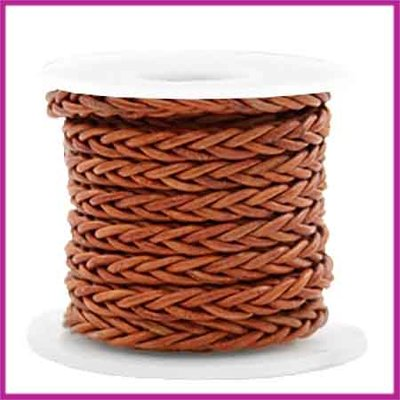 DQ leer gevlochten 8 draden 4mm Copper brown per 20cm