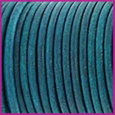 DQ leer rond 2 mm Vintage aqua dazzle blue per 50cm