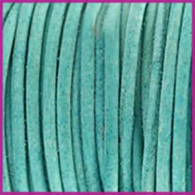 DQ leer rond 2 mm Antique light turquoise green per 50cm