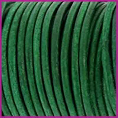 DQ leer rond 2 mm Vintage classic green per 50cm