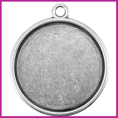 DQ metaal setting 1-oog voor cabochon Ø35mm Antiek zilver