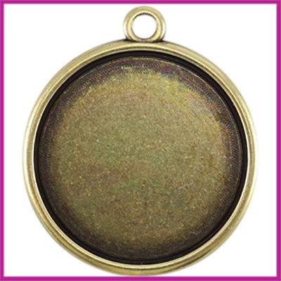 DQ metaal setting 1-oog voor cabochon Ø35mm Antiek brons