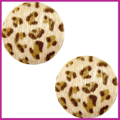 Fluffy faux fur cabochon plaksteen leopard Ø12mm light brown