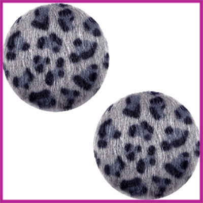 Fluffy faux fur cabochon plaksteen leopard Ø12mm grey blue