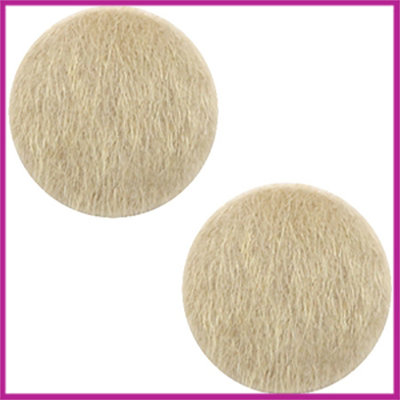 Fluffy faux fur cabochon plaksteen Ø12mm light brown