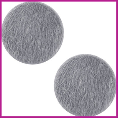 Fluffy faux fur cabochon plaksteen Ø12mm graphite grey