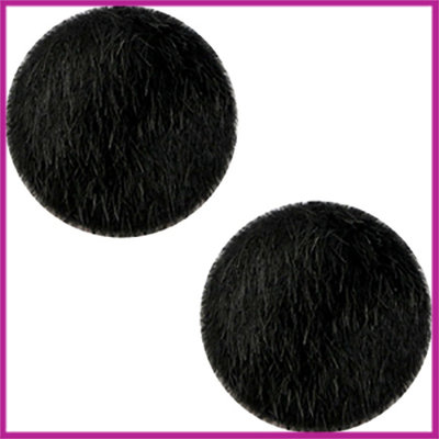 Fluffy faux fur cabochon plaksteen Ø12mm black