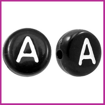 Letterkraal acryl zwart rond 7 mm A