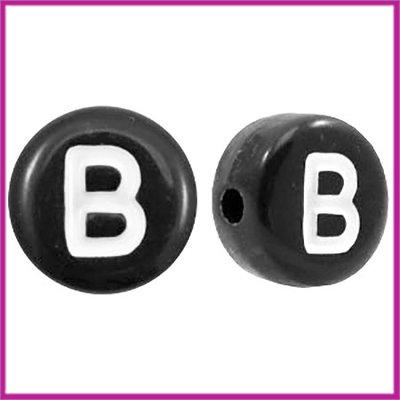 Letterkraal acryl zwart rond 7 mm B